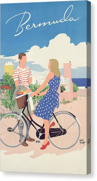 Couple Canvas Print - Poster Advertising Bermuda by Adolph Treidler