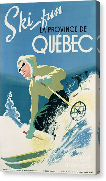 Vintage Canvas Print - Poster Advertising Skiing Holidays In The Province Of Quebec by Canadian School