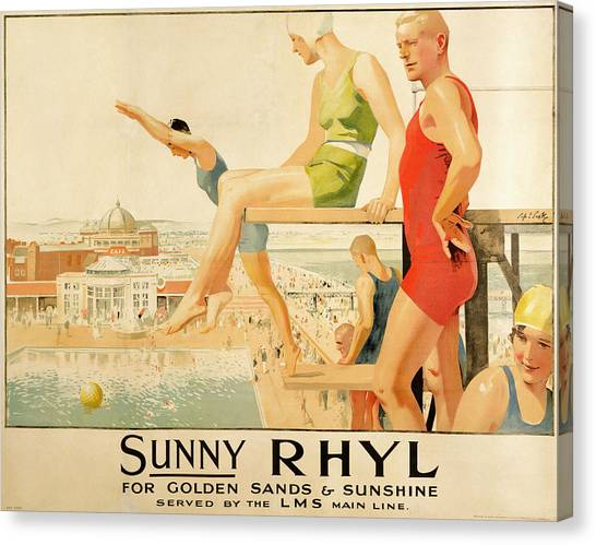 Vintage Canvas Print - Poster Advertising Sunny Rhyl  by Septimus Edwin Scott