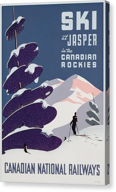 Jet Skis Canvas Print - Poster Advertising The Canadian Ski Resort Jasper by Canadian School