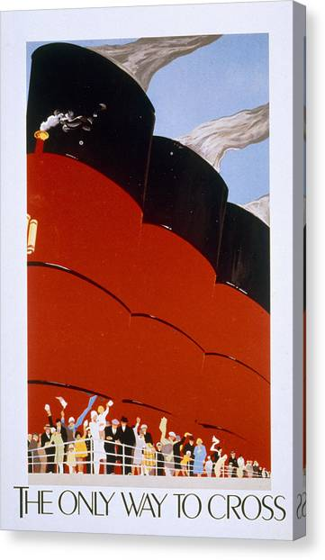 Old Canvas Print - Poster Advertising The Rms Queen Mary by English School