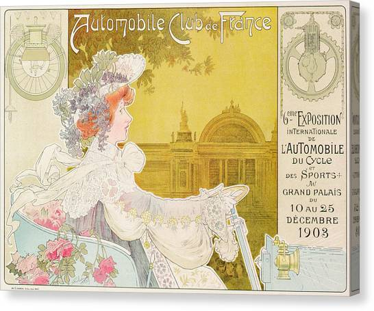 Motoring Canvas Print - Poster Advertising The Sixth Exhibition Of The Automobile Club De France by J Barreau