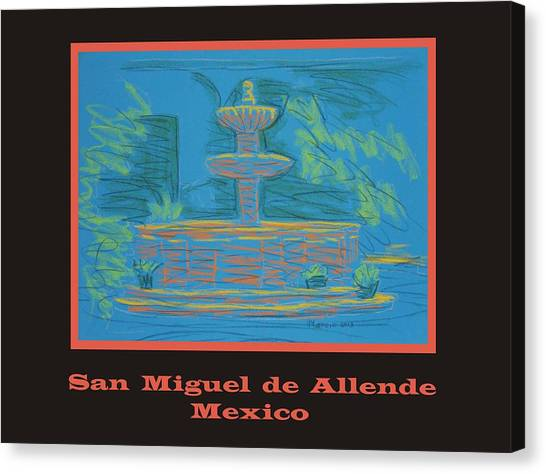 Poster - Blue Fountain Canvas Print by Marcia Meade