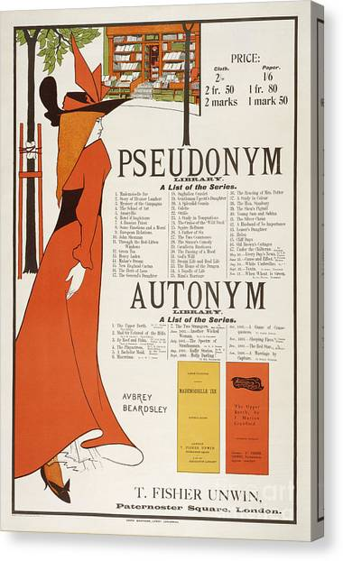 English And Literature Canvas Print - Poster For 'the Pseudonym And Autonym Libraries' by Aubrey Beardsley