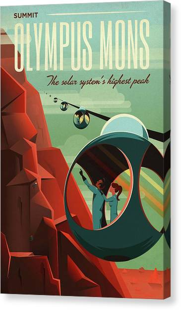 Poster For Tours Of Olympus Mons Canvas Print by Nasa/science Photo Library