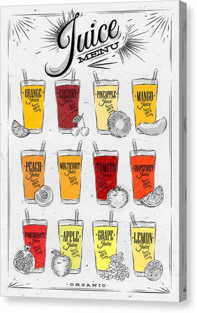 Ingredient Canvas Print - Poster Menu With Glasses Of Different by Anna42f