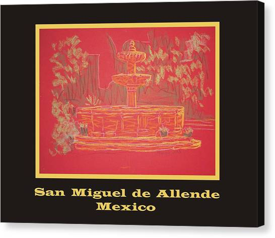 Poster - Orange Fountain Canvas Print by Marcia Meade