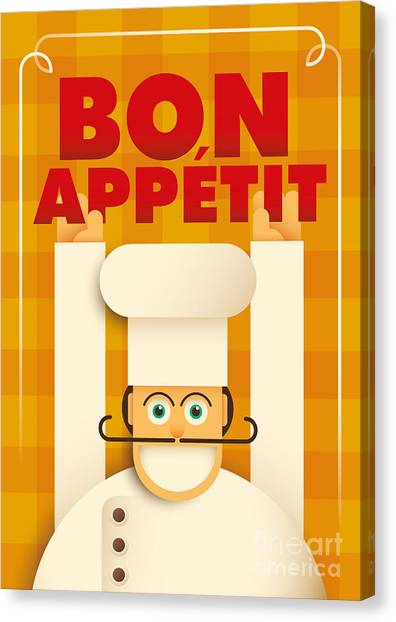 Happy Canvas Print - Poster With A Comic Chef. Vector by Radoman Durkovic