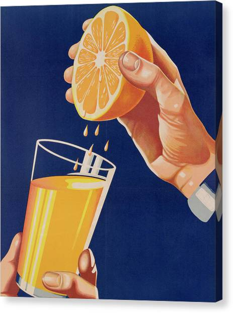 Juice Canvas Print - Poster With A Glass Of Orange Juice by Israeli School
