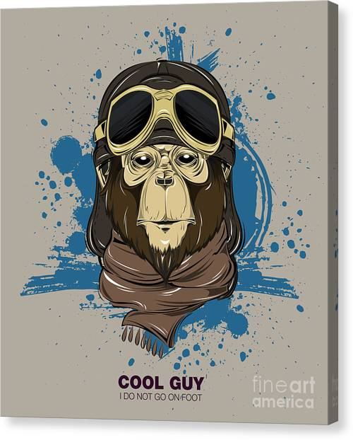 Primates Canvas Print - Poster With Portrait Of Monkey Wearing by Now Design