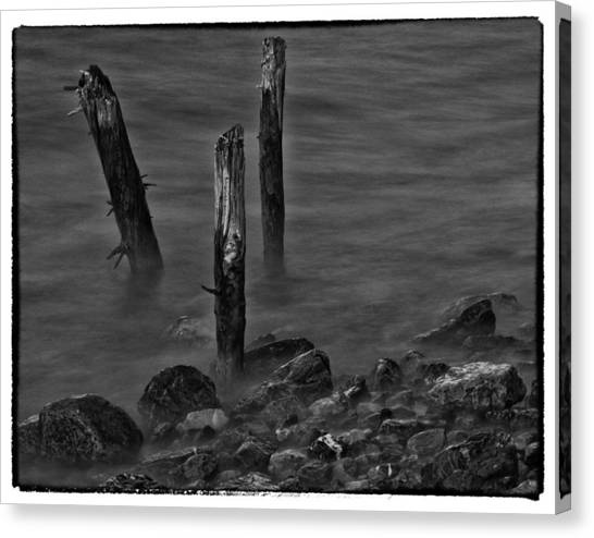 Posts In The Water Canvas Print by Craig Brown