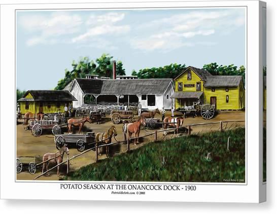 Potato Season At The Onancock Dock - 1900 Canvas Print by Patrick Belote