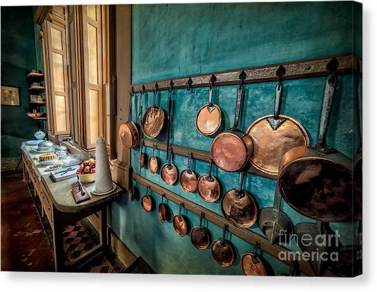 Kitchen Window Canvas Print - Pots And Pans by Adrian Evans