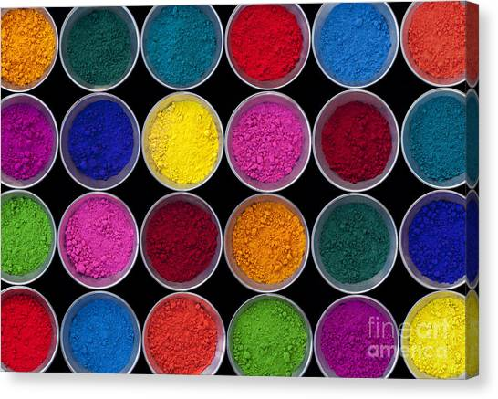 Colorful Canvas Print - Pots Of Coloured Powder Pattern by Tim Gainey