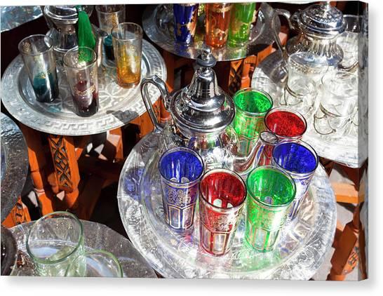 Tea Set Canvas Print - Pots Of Mint Tea And Glasses, The Souk by Peter Adams