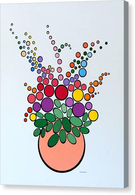 Potted Blooms - Orange Canvas Print