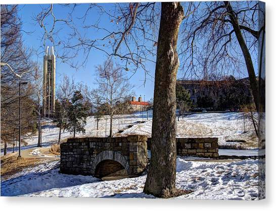 Potter Lake Foot Bridge And Campanile Canvas Print