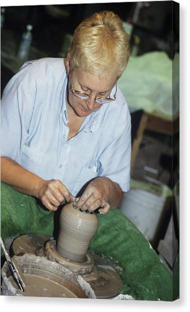 Potter Canvas Print by Sally Mccrae Kuyper/science Photo Library