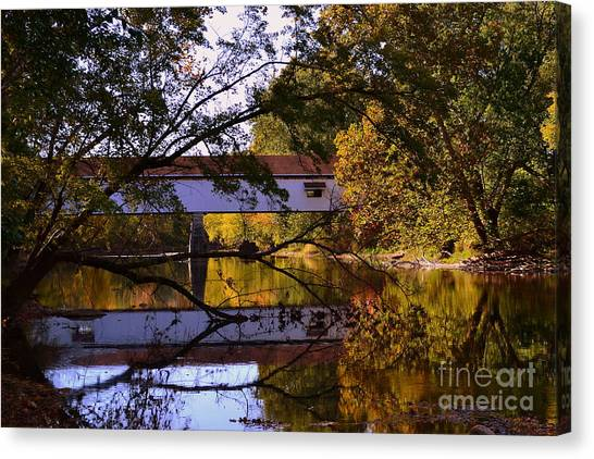Potter's Covered Bridge Reflection Canvas Print