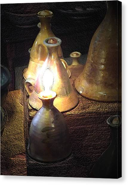 Pottery Oil Lamp  Canvas Print