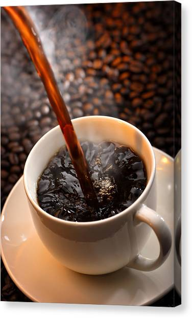 Pour Canvas Print - Pouring Coffee by Johan Swanepoel