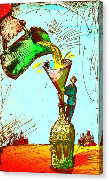 Pouring Liquid Gold Into Bottle Canvas Print by Vasily Kafanov