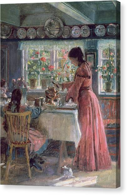 Coffee Plant Canvas Print - Pouring The Morning Coffee by Laurits Regner Tuxen