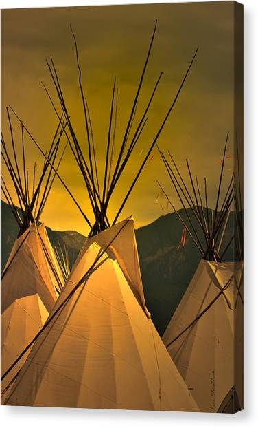 Powwow Camp At Sunrise Canvas Print