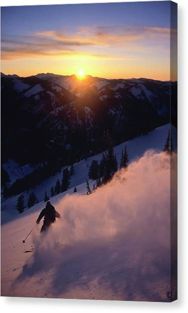 Teton National Forest Canvas Print - Powder Snow Billows Into The Air by Jeff Diener
