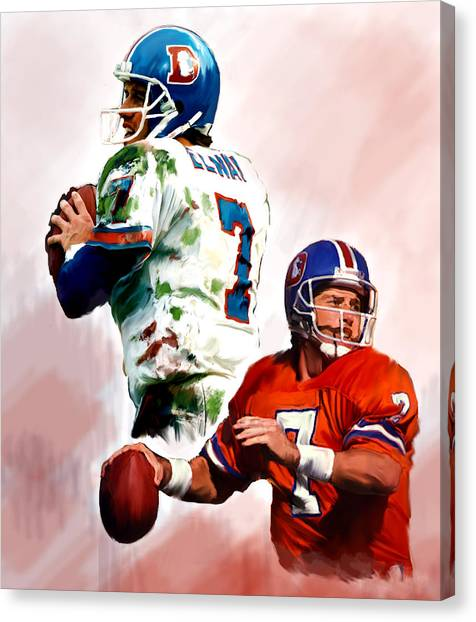 John Elway Canvas Print - Power Force John Elway by Iconic Images Art Gallery David Pucciarelli