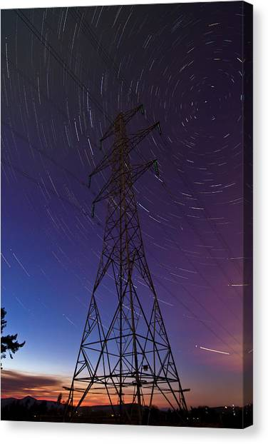 Power Line And Star Trails Canvas Print