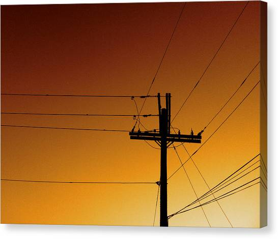 Power Line Sunset Canvas Print