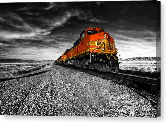 Railroads Canvas Print - Power Of The Santa Fe  by Rob Hawkins