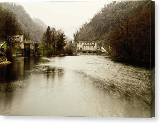 Power Plant On River Canvas Print
