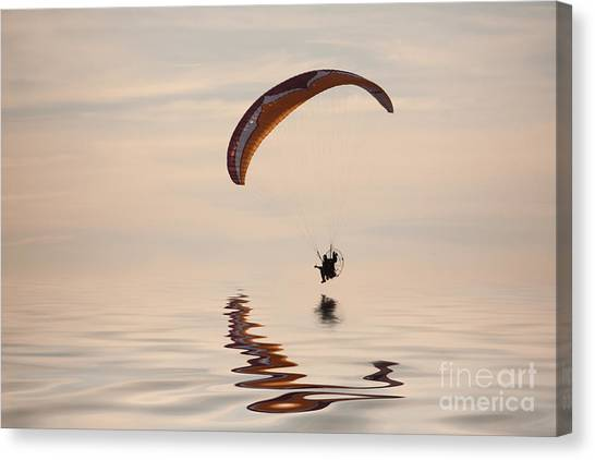 Skydiving Canvas Print - Powered Paraglider by John Edwards