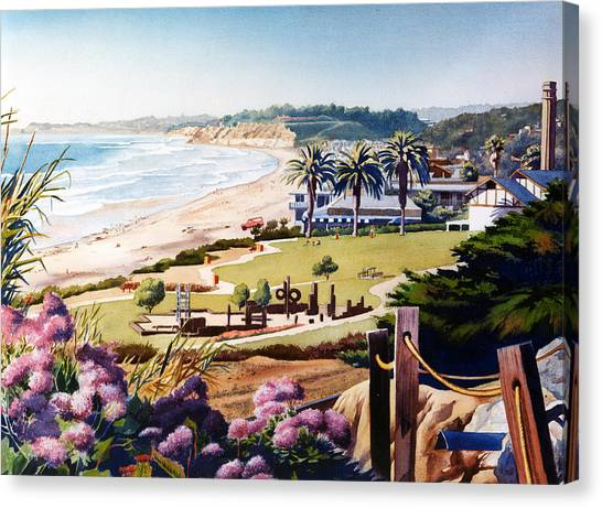 Planets Canvas Print - Powerhouse Beach Del Mar Lilac by Mary Helmreich