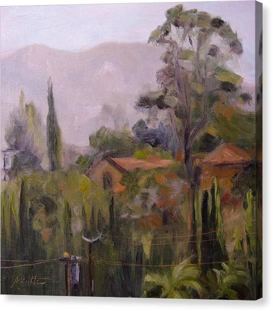 San Gabriel Canvas Print - Powerline Checkpoint by Athena Mantle Owen