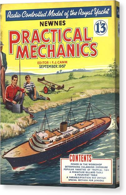Practical Mechanics 1950s Uk Diy Boats Canvas Print by The Advertising Archives
