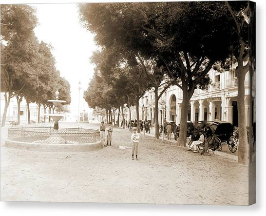 The Prado Canvas Print - Prado And Hotel Pasaje, Havana, Hotels, Plazas by Litz Collection
