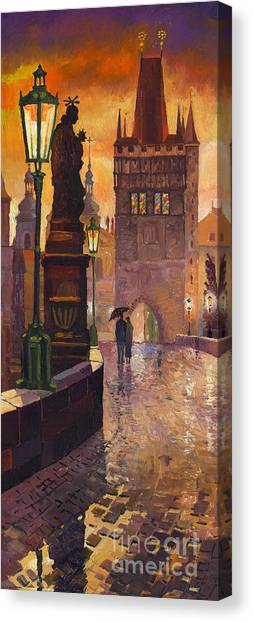 Oil On Canvas Print - Prague Charles Bridge 01 by Yuriy Shevchuk