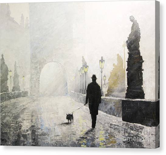 Oil On Canvas Print - Prague Charles Bridge Morning Walk 01 by Yuriy Shevchuk