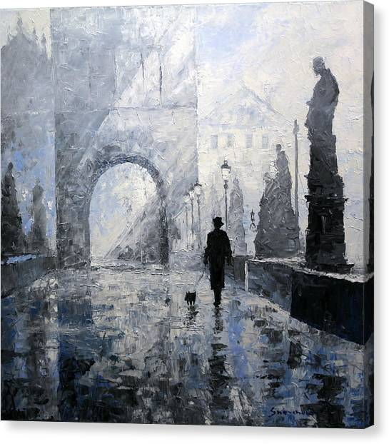 Oil On Canvas Print - Prague Charles Bridge Morning Walk by Yuriy Shevchuk