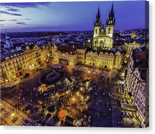 Prague Cityscape At Dusk Staromestski Namesti Canvas Print by Valerii Tkachenko