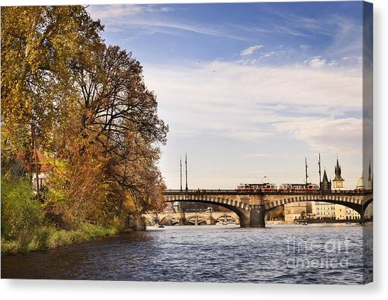 Prague From Vltava Canvas Print by Jelena Jovanovic