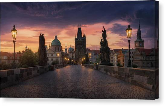 Medieval Canvas Print - Prague-ii by Juan Manuel Fernandez