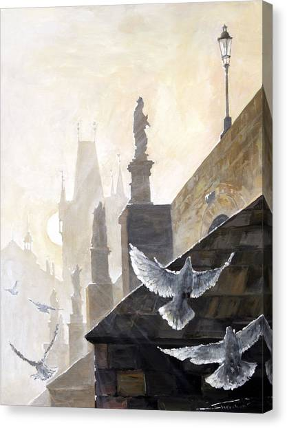 Oil On Canvas Print - Prague Morning On The Charles Bridge  by Yuriy Shevchuk