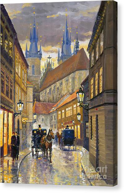 Streets Canvas Print - Prague Old Street Stupartska by Yuriy Shevchuk