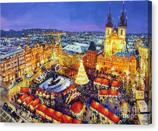 Market Canvas Print - Prague Old Town Square Christmas Market 2014 by Yuriy Shevchuk