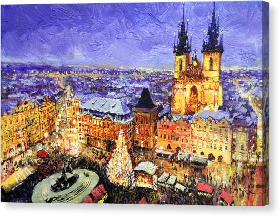 Christmas Tree Canvas Print - Prague Old Town Square Christmas Market by Yuriy Shevchuk