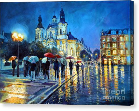 Old Canvas Print - Prague Old Town Square  View Of Street Parizska And St.nicolas Church by Yuriy Shevchuk